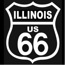 Route 66 Illinois White on Black patch