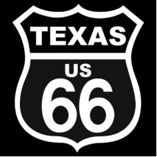 Route 66 Texas White on Black patch