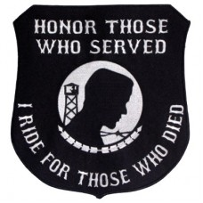 Honor Those-I Ride for Those Who Died Wht on Blk Lg patch