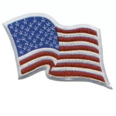 US Waving Flag White Border