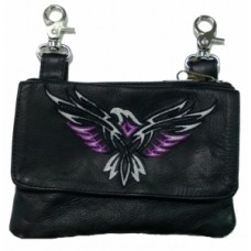 Clip Bag W/ Eagle Embroidery Purple