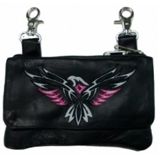 Clip Bag W/ Eagle Embroidery Hot Pink