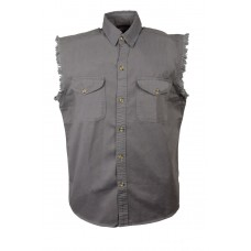 Denim Sleeveless Grey Biker Shirt