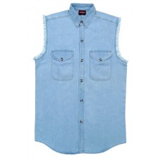 Denim Sleeveless Stone Washed Blue Biker Shirt