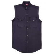 Denim Sleeveless Black Biker Shirt