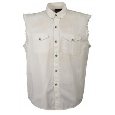 Denim Sleeveless White Biker Shirt