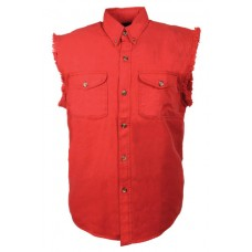 Denim Sleeveless Red Biker Shirt